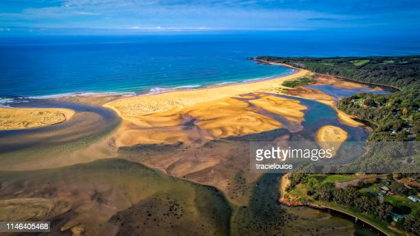 aerial of mallacoota - mallacoota stock pictures, royalty-free photos & images