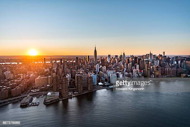 Aerial of Manhattan, NYC at sunrise