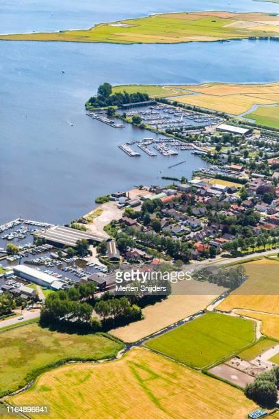 aerial of marina of akersloot along alkmaardermeer - merten snijders stock pictures, royalty-free photos & images