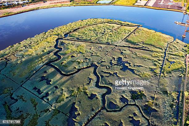 Aerial of marshland, Newark, New Jersey