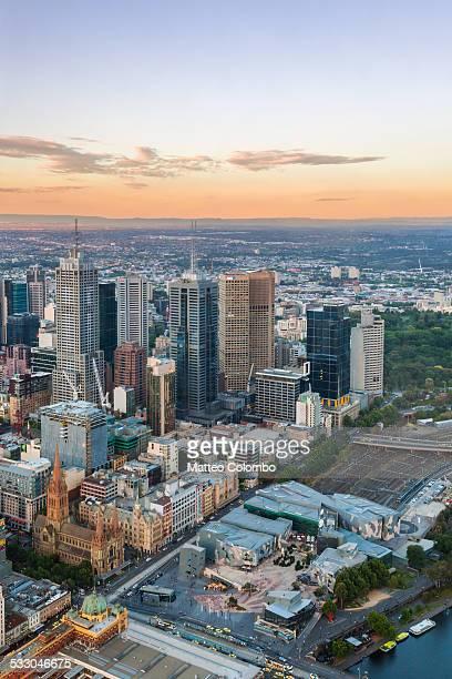 Aerial of Melbourne city at sunset, Australia