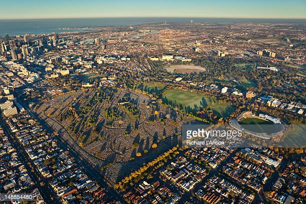 Aerial of Melbourne General Cemetery and Princess Park, Carlton.