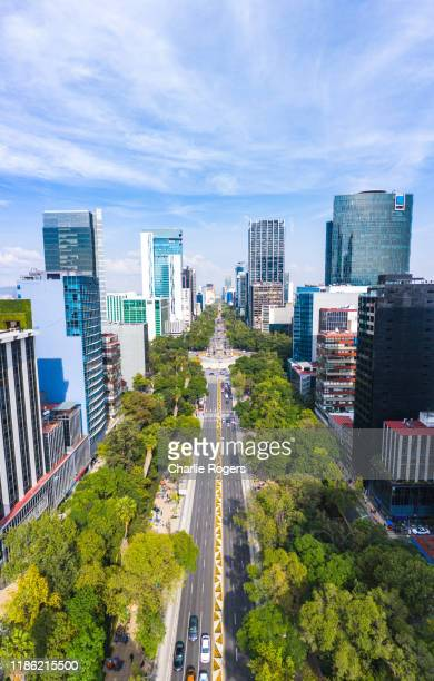 aerial of mexico city cbd and the angel of independence (el ángel de la independencia) roundabout. - avenue stock pictures, royalty-free photos & images