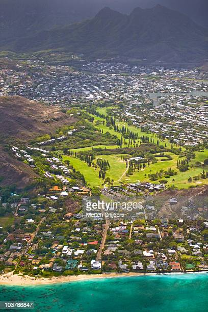 aerial of mid-pacific country club. - kailua stock pictures, royalty-free photos & images