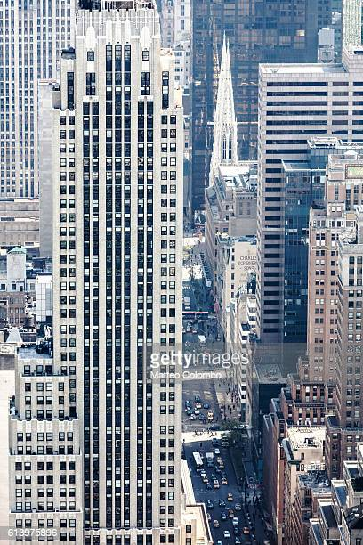 aerial of midtown manhattan at daytime, new york, usa - st. patricks cathedral manhattan stock photos and pictures