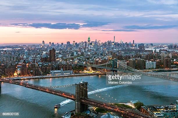 Aerial of Midtown Manhattan at dusk, New York, USA