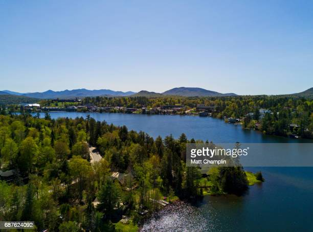 Aerial of Mirror Lake and Lake Placid in the Adirondacks