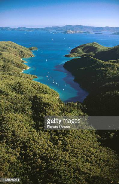 aerial of nara inlet. - bras de mer caractéristiques côtières photos et images de collection