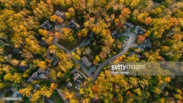 aerial of neighborhood in the fall - generic location stock pictures, royalty-free photos & images