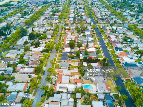 aerial of neighborhood - alhambra city of los angeles stock photos and pictures