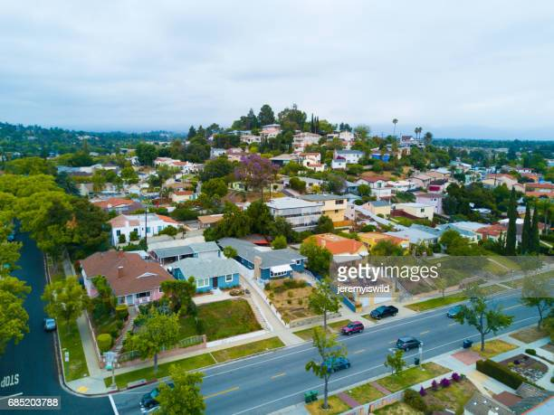 aerial of neighborhood - torrance stock pictures, royalty-free photos & images