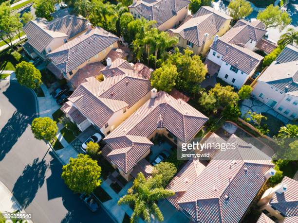 aerial of neighborhood - southern california stock pictures, royalty-free photos & images