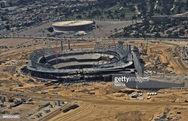 Aerial of new stadium construction for Los Angeles Rams football team