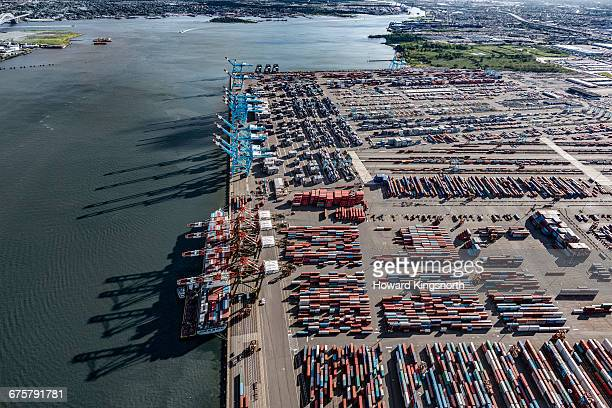 aerial of newark dockside - newark new jersey stock pictures, royalty-free photos & images