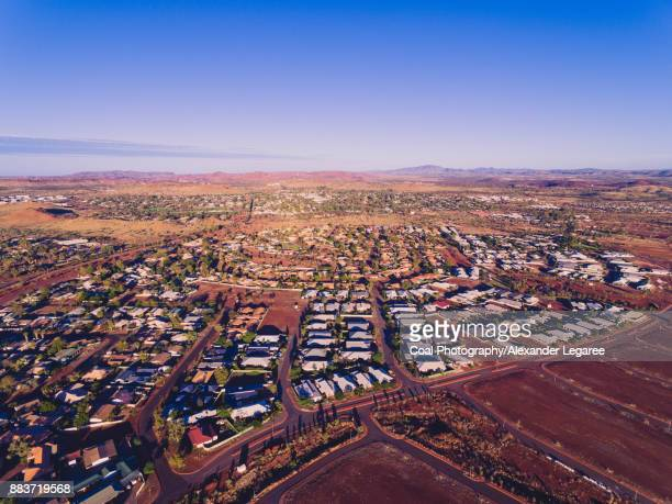 aerial of newman, australia - town stock pictures, royalty-free photos & images