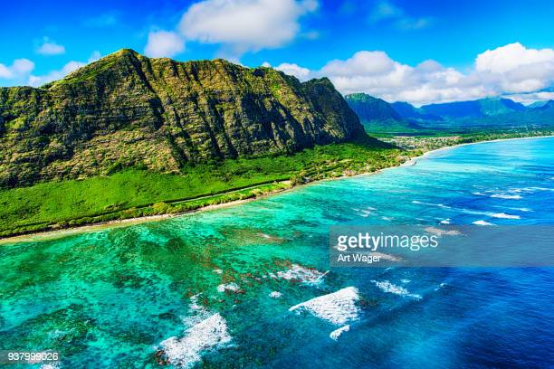 aerial of oahu's coastline - north shore stock photos and pictures
