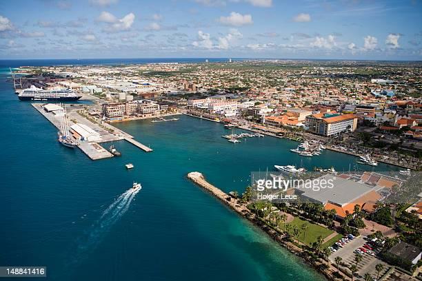 aerial of oranjestad harbour. - oranjestad stockfoto's en -beelden