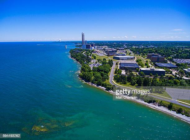 aerial of oswego harbor and lake ontario - lake ontario stock pictures, royalty-free photos & images