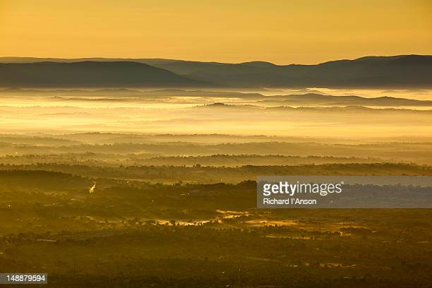 Aerial of outer eastern suburbs and Yarra Valley at sunrise.