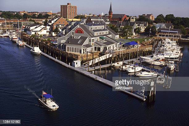 aerial of pickering wharf, salem, ma - massachusetts stock pictures, royalty-free photos & images