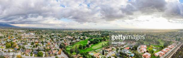 aerial of rancho cucamonga, california - real estate developer stock pictures, royalty-free photos & images