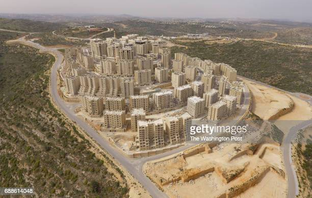 Aerial of Rawabi a highend multiuse development the first of its kind city for palestinians in Rawabi West Bank on April 11 2017 This city was built...