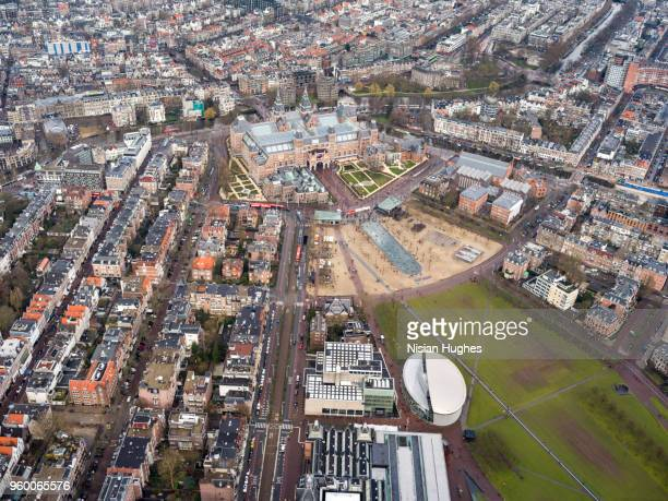 aerial of rijksmuseum and surroundings, amsterdam - rijksmuseum stock photos and pictures