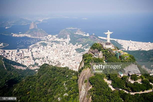 aerial of rio de janeiro - jesus christ stock pictures, royalty-free photos & images