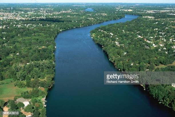 Aerial of River and Green Shores
