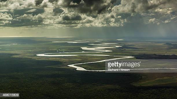 aerial of river & floodplains in arnhem land - アーネム ストックフォトと画像