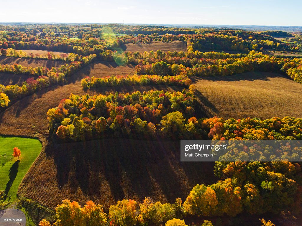Aerial of Rolling Farm fields : Stock Photo