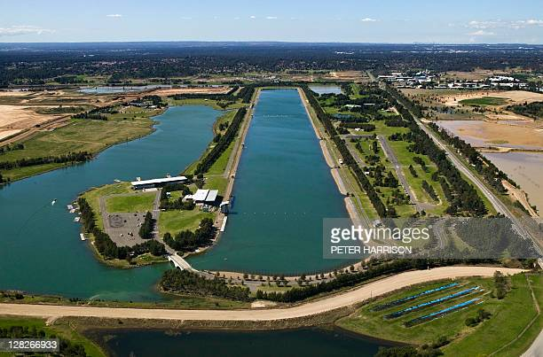 Aerial of Rowing Regatta Centre, Penrith, New South Wales, Australia