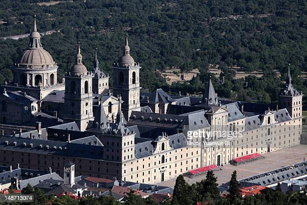 Aerial of Royal palace and monastery of El Escorial.