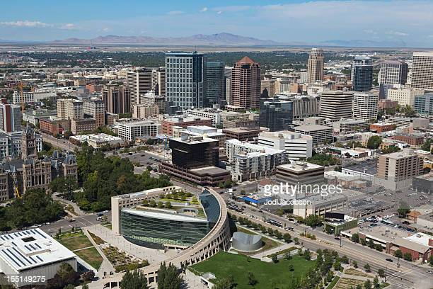 aerial of salt lake city utah - salt lake city utah stock photos and pictures