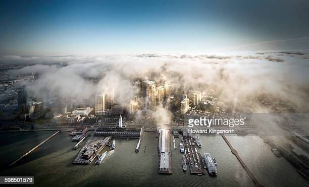 Aerial of San Francisco with fog rolling in