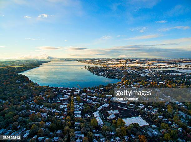 aerial of skaneateles lake after first snow - skaneateles lake stock pictures, royalty-free photos & images
