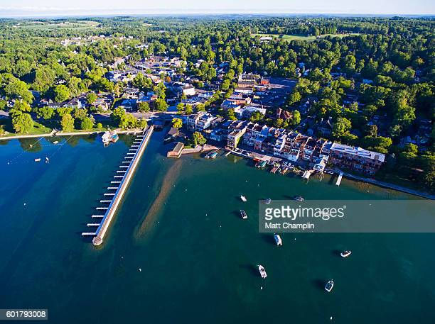 aerial of skaneateles lake and village - finger lakes stock pictures, royalty-free photos & images