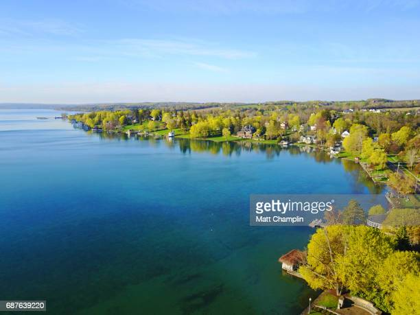 aerial of skaneateles lake in springtime - finger lakes stock pictures, royalty-free photos & images