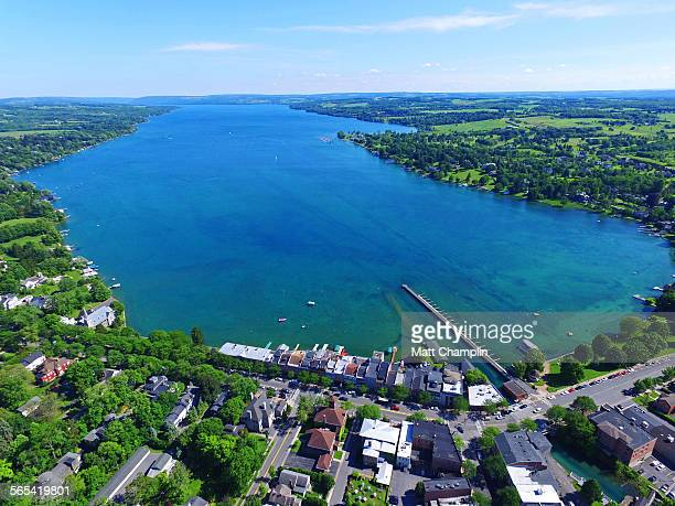 aerial of skaneateles lake in summer - finger lakes stock pictures, royalty-free photos & images