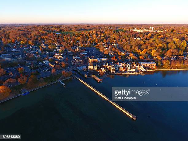 aerial of skaneateles village in autumn - skaneateles lake stock pictures, royalty-free photos & images