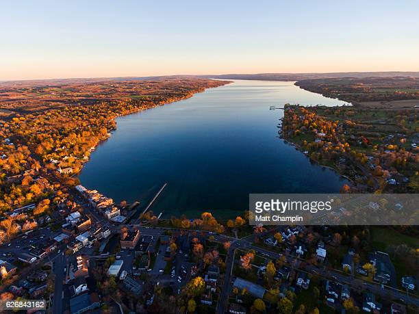 aerial of skaneateles village in autumn - finger lakes stock pictures, royalty-free photos & images