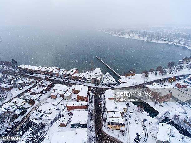 aerial of skaneateles village in winter - skaneateles lake stock pictures, royalty-free photos & images