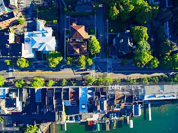 aerial of skaneateles village, lake, and pier - finger lakes stock pictures, royalty-free photos & images
