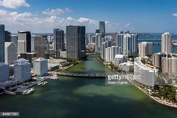 Aerial of Skyscrapers along Miami River
