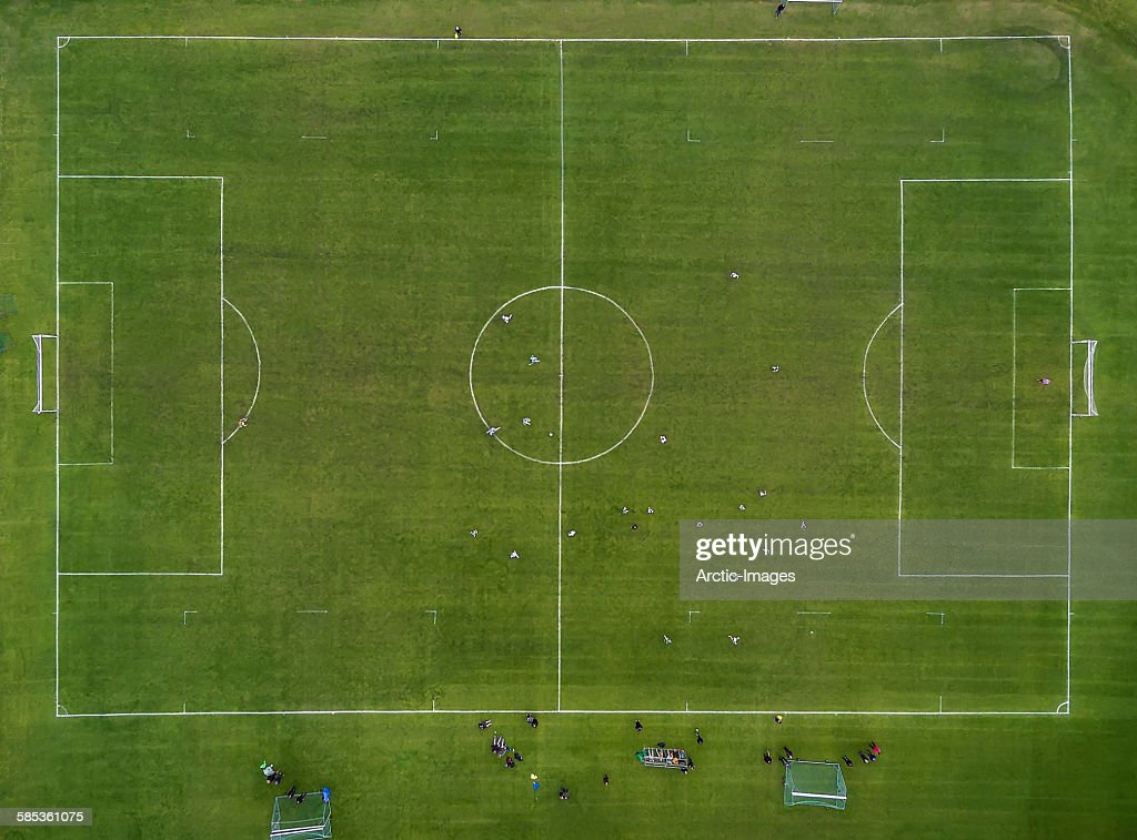 Aerial of Soccer or Football field, Iceland : Stock Photo