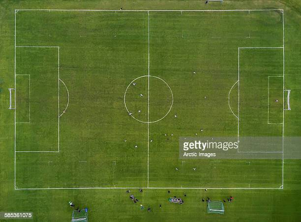 aerial of soccer or football field, iceland - サッカー場 ストックフォトと画像