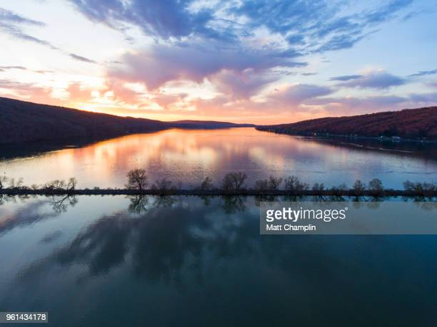 aerial of spring sunset on lake - finger lakes stock pictures, royalty-free photos & images