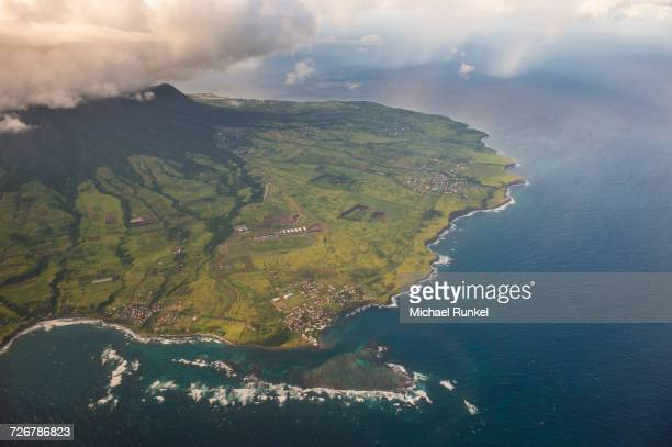 aerial of st. kitts, st. kitts and nevis, west indies, caribbean, central america - st. kitts stock photos and pictures
