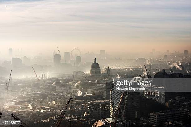 aerial of st paul's in the fog - smog stock pictures, royalty-free photos & images