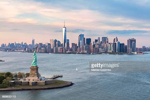 Aerial of Statue of Liberty and skyline, New York